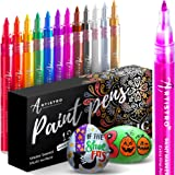 Metallic Paint Pens for Rock Painting, Stone, Ceramic, Glass, Wood, Fabric, Pebbles, Scrapbook Journals, Photo Albums, Card S