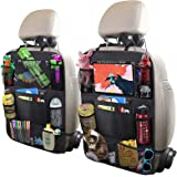 "Car Backseat Organizer with 10"" Tablet Holder + 9 Storage Pockets Seat Back Protectors Kick Mats for Toy Bottle Book Drink, U"