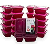 BINO Meal Prep Containers with Lids - 2 Compartment /30 oz [12-Pack], Red - Bento Box Lunch Containers for Adults Food Contai