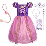 Dressy Daisy Girls' Princess Dress up Fairy Tales Costume Cosplay Party with Long Braid Accessories