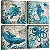Teal Home Wall Art Decor - Ocean Theme Mediterranean Style Canvas Prints Framed and Stretched Ready to Hang Sea Animal Octopu