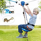 Jugader 160FT Zipline with Spring Brake, Cable Tensioning Kit, Detachable Trolley, Adjustable Safe Belt & Seat and 304 Stainl