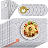 Table Mats, Set of 6 Tendak 19 Pcs Non-Slip Place mat, Washable Felt Placemats with Coasters, Cutlery Bags and Storage Box, H