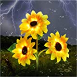 Outdoor Solar Garden Stake Lights,Upgraded LED Solar Powered Light with 3 Sunflower, Waterproof Solar Decorative Lights for G
