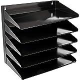 Amazonベーシック オフィス資料収納トレイ 金属製 5段 33×23×33cm ブラック