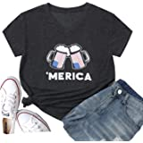 Hellopopgo Women Have A Willie Nice Day Faith Freedom USA American Flag Lips Shirt Short Sleeve Graphic Tees Funny T Shirts S