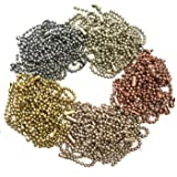 Rojwei 100pcs Metal Ball Chain Keychains,Christmas Mix Colors Tag Chain 10cm Long, 2.4 mm Diameter Bead Size, Complete with a