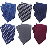 OUMUS Men's Ties,Cotton and Silk Floral Printed Slim Skinny Ties for Men Neckties Pack of 6