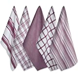 DII Cotton Luxury Assorted Kitchen Dish Towels, 18 x 28 Set of 5, Ultra Absorbent Fast Dry, Professional Grade Tea Towels for