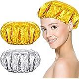 16 Pieces Reusable Foil Shower Cap Aluminum Foil Hair Heating Cap Cordless Hair Heat Caps Home and Salon Uses for Deep Condit