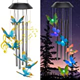 Zawino Solar Wind Chimes for Outside, Butterfly Windchimes with Music Metal Tubes, 7 Colors Changing LED Lights, Waterproof W