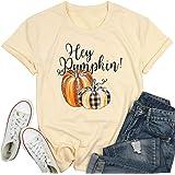 Hey Pumpkin Shirt Funny Pumpkin Leopard Graphic Halloween Shirt Women Letter Print Tshirt Thanksgiving Gift Tops