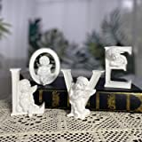 """OwMell Set of 4 Angel Cherub Statue Figurine Heart Love Sculpture Home Decoration Collectible Figurine 4"""" White Paintable"""