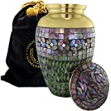 Iridescent Mosaic Cracked Glass Brass Metal Funeral Cremation Urn for Human Ashes - Extra Large, Large and Keepsake, Brass, G