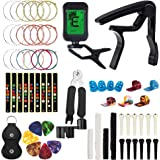 Guitar Accessories Kit Include Guitar Strings, Tuner, Capo, 3-in-1 Restring Tool, Picks, Bridge Pins, Nuts & Saddles, Finger