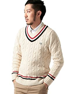 Beams x Fred Perry Cricket Sweater 11-15-0466-060: Off White