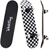WhiteFang Skateboards 31 Inch Complete Skateboard Double Kick Skate Board 7 Layer Canadian Maple Deck Skateboard for Kids and