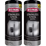 Weiman Stainless Steel Cleaner Wipes (2 Pack) Fingerprint Resistant, Removes Residue, Water Marks and Grease from Appliances