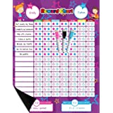 Magnetic Reward Behavior Star Chore Chart for One or Two Kids 17 x 13 Includes: 3 Color Dry Erase Markers Pink, Blue, & Black
