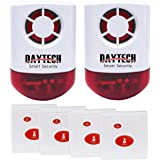 Daytech Wireless Strobe Siren Alarm Home Caring Loud Outdoor SOS Alert System 2 Red Flashing Siren and 4 Emergency Button for
