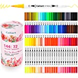 Caliart 144 Colors Dual Brush Pens Art Markers, Artist Fine & Brush Tip Pen Coloring Markers for Adult Coloring Book Journali