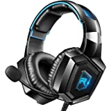 RUNMUS Gaming Headset for PS4, Xbox One, PC Headset w/Surround Sound, Noise Canceling Over Ear Headphones with Mic & LED Ligh