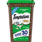 Temptations Classic Crunchy and Soft Cat Treats Seafood Medley Flavor, 30 Oz Tub