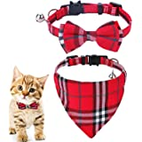 ペット 猫 首輪 猫くびわ 鈴つき セーフティバックル式 調節可能 17-28cm 安全 おしゃれ 超軽量 ネコ 首飾り 子犬 うさぎ 小中型ペット首輪(赤)