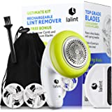 Electric Lint Remover Clothes Shaver Kit, Twist Handle & Large Shaving Head, USB Rechargeable, Cordless, Floating Blades | Wi