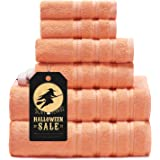 Sofi Towel Premium Towels Sets for Bathroom Turkish Cotton Soft Towels Bathroom Set 6 Piece High Absorbency Malibu Peach