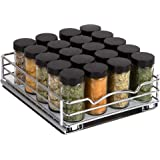 """Spice Rack Organizer for Cabinet – Pull Out Spice Rack Heavy Duty Chrome 8-3/8""""Wx 10-3/8""""D x 2-1/8 H Slide Out for Upper Kitc"""