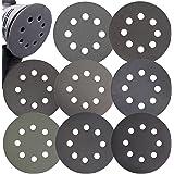 Aewio 56 Pcs 5 inch 8 Holes #320-#2000 Sanding Discs 320 400 600 800 1000 1200 1500 2000 Wet Dry Sandpaper for Random Orbital