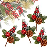 Meiliy 10pcs Artificial Pine Picks Pine Spray Floral Stems Red Berry Picks for Wedding Garden Christmas Tree DIY Craft Decora