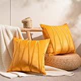 Topfinel Decorative Hand-Made Throw Pillow Covers Soft Particles Velvet Solid Cushion Covers 18 X 18 for Couch Bedroom Car, P