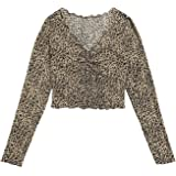 SOLY HUX Women's Leopard Print V Neck Long Sleeve Tee Lettuce Trim T Shirt Crop Top