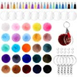195 Pieces Pom Pom Keychain Fluffy Faux Fur Pompoms Keychain with Tassels and Keyrings Acrylic Discs for Bag Charm Accessorie