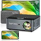TOPTRO プロジェクター WiFi 1920*1080P 4K対応、7500LM 300インチ大画面 Bluetooth5.0 天井 小型プロジェクター、4Dデータ台形補正 50%ズーム ホーム ビジネス プロジェクター、USB/HDMI/AV/