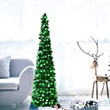 DOYOLLA Collapsible Artificial Christmas Tree, Pop Up Tinsel Coastal Xmas Tree for Home & Party & Office & Fireplace Holiday