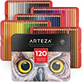 ARTEZA Colored Pencils, Professional Set of 120 Colors, Soft Wax-Based Cores, Ideal for Drawing Art, Sketching, Shading & Col