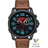 Diesel On Men's Full Guard 2.5 HR Heart Rate Silicone Touchscreen Smart Watch Brown Leather Strap, DZT2009