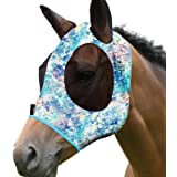 Harrison Howard Elasticity Horse Fly Mask Superb Comfort with UV Protection Standard Horse Fly Mask for Horse-Pastel Mix (L;