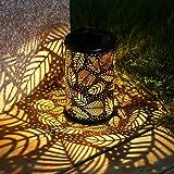 TAKE ME Solar Lantern Lights OutdoorGarden Hanging Lights Metal Leaf Pattern Lights Lamp for PatioOutside or Table