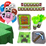 Minecraft Ultimate Party Supplies Pack (130+ Pieces for 16 Guests), Minecraft Birthday, Minecraft Decorations, Minecraft Tabl