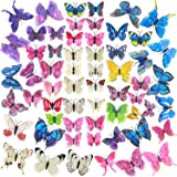 60 Pcs Colorful 3D Butterfly Wall Art, Assorted Removable Butterfly Party Decorations Mural Room Decor, Removable Butterflies