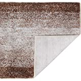 DEARTOWN Non-Slip Shaggy Bathroom Rug,Soft Microfibers Bath Mat with Water Absorbent, Machine Washable(Multicolor-Brown,15x23