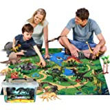 Dinosaur Toys Figures with Large Flannel Activity Play Mat 39.4 x 28 Inch, 30Pcs Realistic Dinosaur Playset Include T-Rex, Tr
