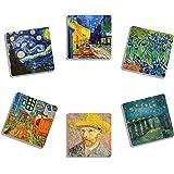 EXIT82ART - Rubber Drink Coasters (Set of 6). Vincent van Gogh Paintings. Absorbent. Dishwasher Safe.