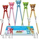 Training Chopsticks for Kids Adults and Beginners - 5 Pairs Chopstick Set with Attachable Learning Chopstick Helper - Right o