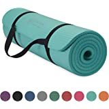 """Gaiam Essentials Thick Yoga Mat Fitness & Exercise Mat With Easy-Cinch Yoga Mat Carrier Strap, Teal, 72""""L X 24""""W X 2/5 Inch T"""