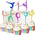 48 Pieces Glitter Gymnastics Cupcake Toppers Gymnast Girl Cake Picks Colorful Gymnastics Silhouette Cupcake Toppers for Gym T